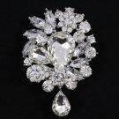 """Chic Rhinestone Crystals Pretty 3.1"""" Clear Flower Pendant Brooch Pin W/ Wedding"""