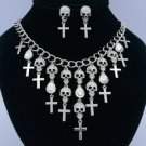 Cross Skeleton Skull Necklace Earring Set W/ Clear Swarovski Crystals Halloween