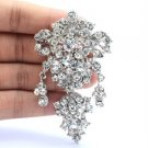 "Dangle Bride Clear Swaroski Crystals Flower Brooch Pin 2.9 """