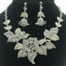 Leaf Gray Bud Rose Flower Necklace Earring Set W/ Swarovski Crystals
