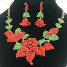 Leaf Red Bud Rose Flower Necklace Earring Set W/ Swarovski Crystals