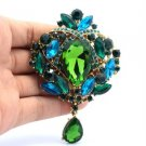 "Trendy Flower Brooch Broach Pin 3.5"" W/ Green Rhinestone Crystals"