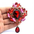 "Chic Trendy Flower Brooch Broach Pin 3.5"" W/ Red Rhinestone Crystals"