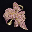"Chic Vintage Style Pink Bowknot Flower Brooch Pin 2.7"" W/ Rhinestone Crystals"