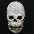 """Swarovski Crystals Fashion Cool Skull Brooch Pin 3.2"""""""