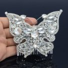Bridesmaid Butterfly Hair Comb W/ Clear Rhinestone Crystals For Wedding