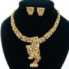 Swarovski Crystals High Quality Drop Topaz Panther Leopard Necklace Earring Set
