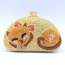 Deluxe Yellow Cat Clutch Evening Purse Bag Handbag H-Quality Swarovski Crystal