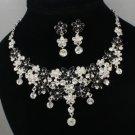 Swarovski Crystals Black Enamel Flower Necklace Earring Set