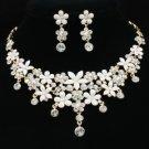 Gold Tone White Enamel Flower Necklace Earring Set W/ Clear Swarovski Crystals