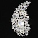 """New Bridal Pretty Clear Flower Brooch Pin 4.5"""" W/ Rhinestone Crystals Wedding"""