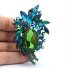 """Retro Cute Flower Pendant Brooch Pin 2.9"""" W/ Green Rhinestone Crystals"""