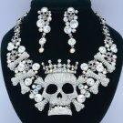 High Quality Crown Bone Skull Necklace Earring Sets W/ Clear Swarovski Crystals