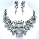 High Quality Crown Bone Skull Necklace Earring Sets W/ Gray Swarovski Crystals