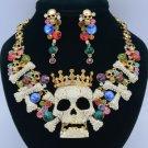 H-Quality Crown Bone Skeleton Skull Necklace Earring Sets W/ Swarovski Crystals