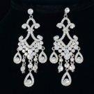 Rhinestone Crystals Elegant Dangle Pierced Clear Flower Earring For Wedding