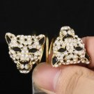 Fashion 2 Clear Panther Leopard Ring Size 7# W/ Rhinestone Crystals