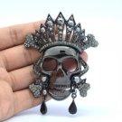 Vintage Style Swarovski Crystals Black Skull Brooch Pin For Halloween