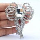 """Wedding Clear Riband Bowknot Flower Brooch Broach Pin 2.8"""" W/ Rhinestone Crystal"""