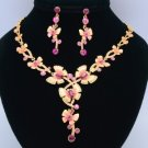 High Quality Pink Butterfly Necklace Earring Sets Swarovski Crystals