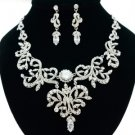 Beautiful Clear Flower Necklace Earring Set W/ Swarovski Crystals For Wedding