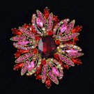 "Chic Pendant Flower Brooch Pin 4.0"" W/ Red Swarovski Crystals"