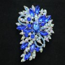 "New Brilliant Blue Flower Brooch Broach Pin 3.3"" W/ Rhinestone Crystals Jewelry"