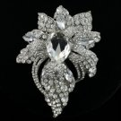 "Rhinestone Crystals Hot New Clear Flower Brooch Pin 3.9"" For Wedding"