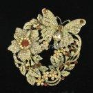 Fashion Brown Flower Butterfly Brooch Broach Pin w/ Swarovski Crystals
