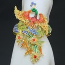 H-Quality Elegant Enamel Peacock Bracelet Bangle Cuff w/ Swarovski Crystals