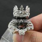 Swarovski Crystals Halloween Crown Black Skull Cocktail Ring Size 9#