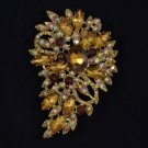 "Rhinestone Crystals New Trendy Smoky Quartz Flower Brooch Pin 3.3"" Jewelry"