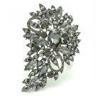 "New Brilliant Black Flower Brooch Pin 3.3"" W/ Rhinestone Crystals Jewelry"