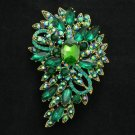 "New Brilliant Green Flower Brooch Pin 3.3"" W/ Rhinestone Crystals Jewelry"