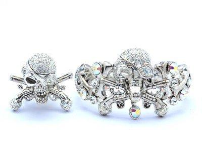 Swarovski Crystals Clear Pistol Skeleton Skull Bracelet Bangle Ring Adjustable