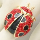 H-Quality Insect Ladybird Ladybug Cocktail Ring 6# W/ Red Swarovski Crystals