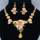 Enamel Pink Flower Butterfly Necklace Earring Sets w Topaz Swarovski Crystals