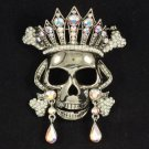 Fashion Vintage Style Swarovski Crystals Clear Skull Brooch Pin