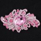 "Swarovski Crystals Vogue Hot Pink Flower Brooch Pin 3.7"""