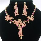High Quality Swarovski Crystals Posh Pink Multi Cat Necklace Earring Set