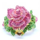 Exquisite Swarovski Crystals Cute Bee Pink Flower Rose Bracelet Bangle Cuff