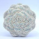 Luxury Bling  Rose Flower Clutch Evening Bag Purse W/ Clear Swarovski Crystals