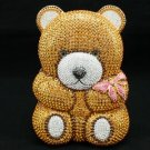 Gold Bear Clutch Evening Bag Purse Handbag W/ Swarovski Crystal 4 Christmas gift