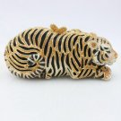 High Quality Gold Tiger Tigress Clutch Evening Bag Handbag w/ Swarovski Crystal