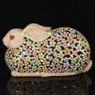 Mix Swarovski Crystals Rabbit Clutch Evening Purse Bag