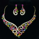 Fashion Ribbon Bow Flower Necklace Earring Set W/ Multicolor Rhinestone Crystals