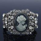 Trendy Vintage Style Flower Relief Bracelet Bangle Cuff Clear Swarovski Crystals