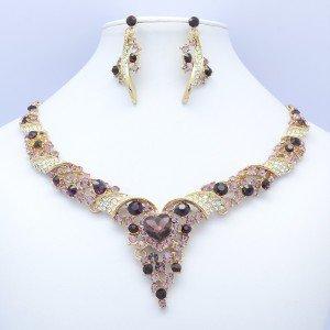 Gold Tone Flower Heart Necklace Earring Set 07442 W/ Purple Rhinestone Crystals