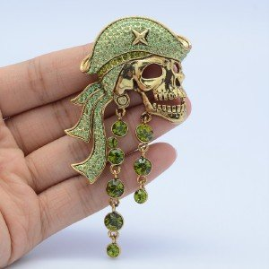 Vintage Green Swarovski Crystals Pirate Skull Brooch Pin High Quality