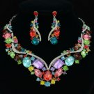 Drop Oval Multicolor Flower Necklace Earring Set W/ Rhinestone Crystals 04354